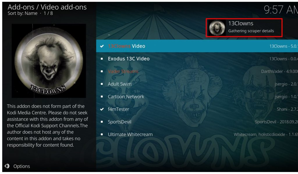 how to use 13 Clowns kodi addon