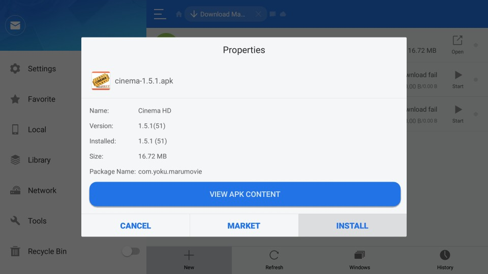 how to install cinema apk app on firestick