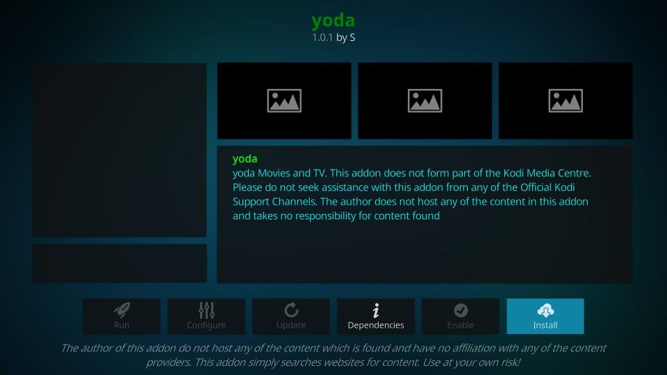 how to install yoda kodi addon