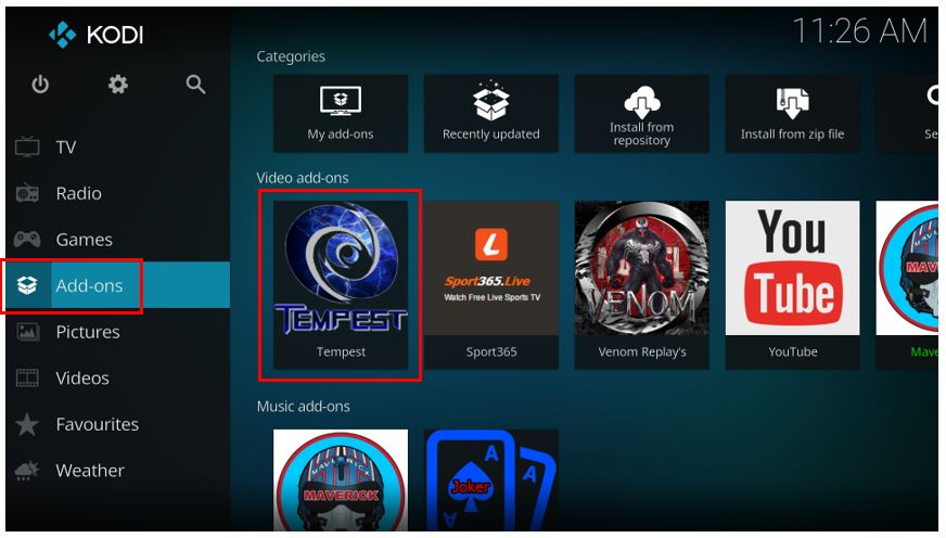 how to use temepst kodi addon