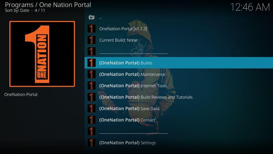 onenation portal builds on kodi