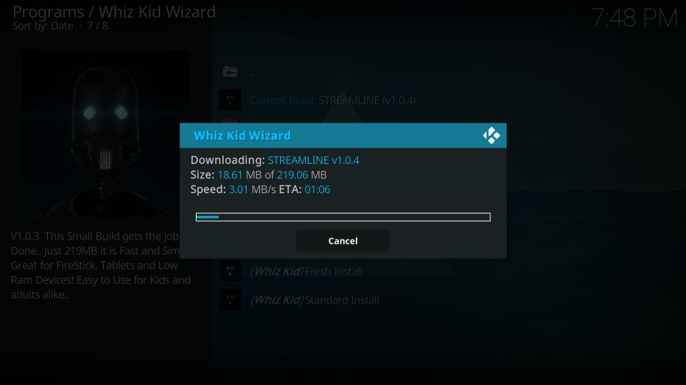 download streamline kodi build