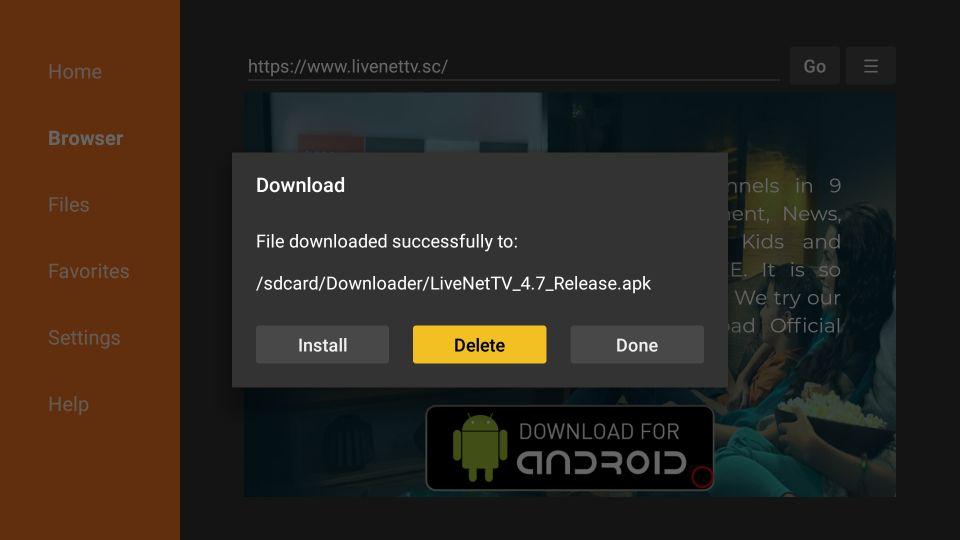 download live nettv on firestick