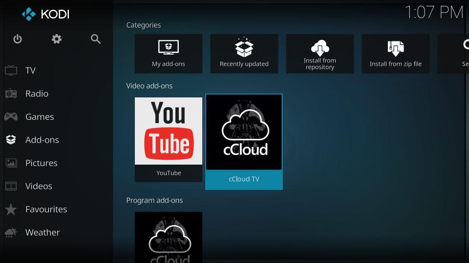 how to install ccloud tv addon on kodi