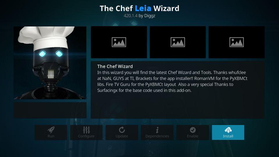 the chef leia wizard on kodi
