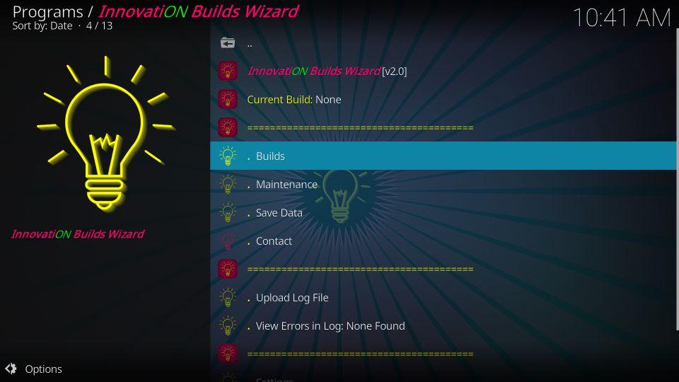 install innovation kodi builds