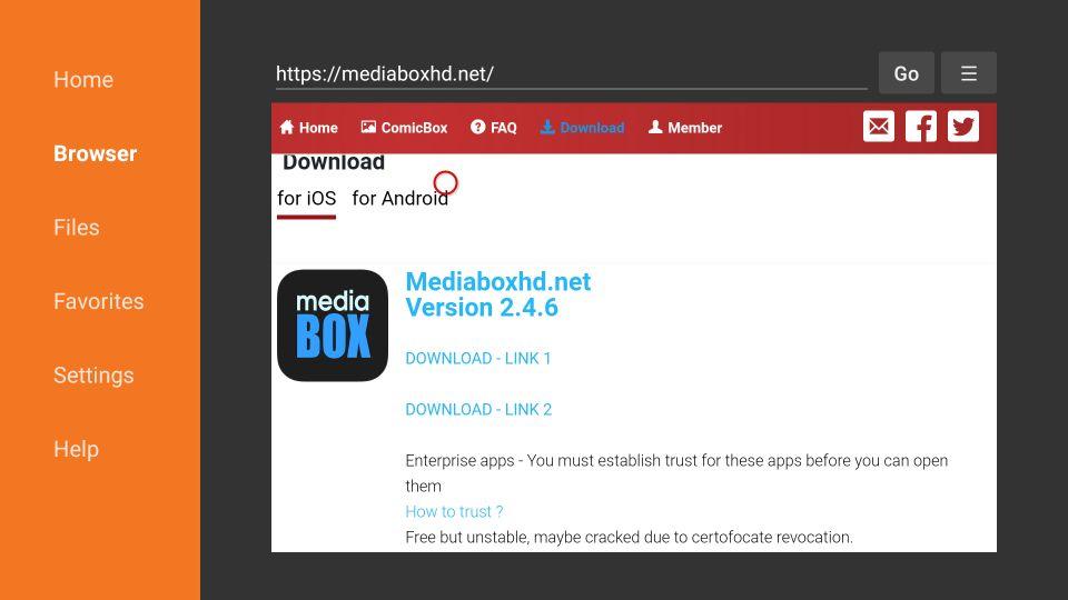 download mediabox hd apk file on Firestick