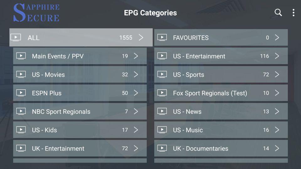 epg categories